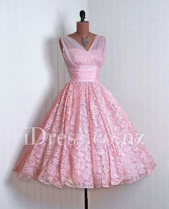 Sleeveless Pink Sleeveless V-neck Lace Designer Prom Dress #2265371 ...