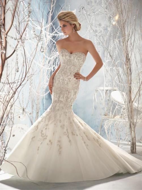 Wedding - Meerjungfrau/Trompete Herz-Ausschnitt rmellos Hof-Schleppe Tulle Brautkleider