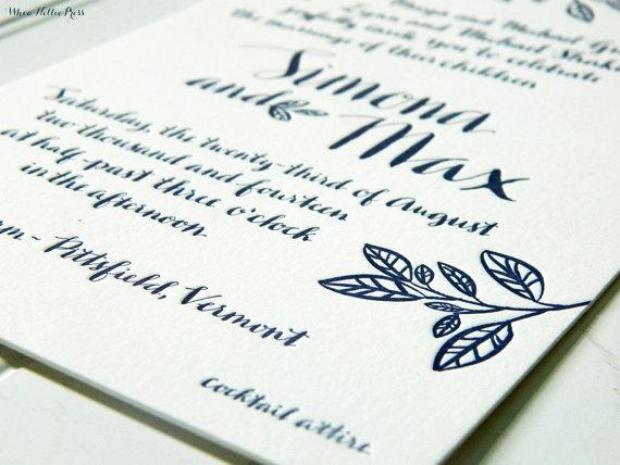 Mariage - Tree Branch/Rustic Vermont Wedding Letterpress or Digitally Printed Wedding Invitations