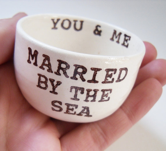 Hochzeit - married BY THE SEA ready to ship wedding ring dish ring holder remember beach or destination wedding gift christmas gift for newly married
