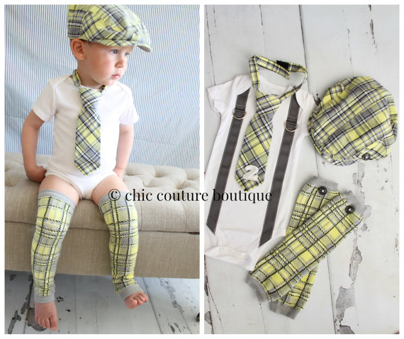 Baby Boy 1st Or 2nd Birthday Outfit Complete Set Of 4 Items Gray Yellow Arayle Plaid Tie W Number 1 2 Button Leg Warmers Newsboy Hat