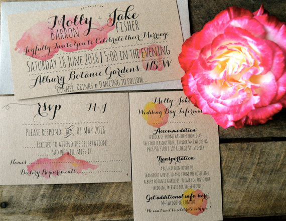 Wedding - Watercolour Wedding Invitations, Rustic Wedding Invitations