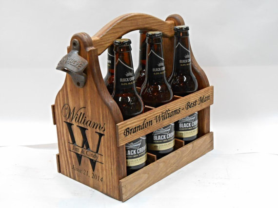 Wood beer tote personalized beer carrier christmas gift wedding
