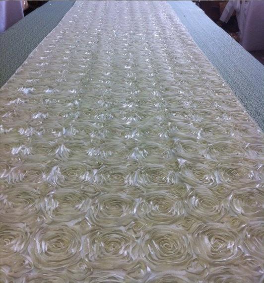 Custom Made Ivory Tafetta Rosette Aisle Runner 22 Feet Long 52 Inches Wide