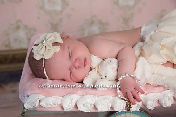 Mariage - Ivory Cream Felt Bow Rhinestone Ruffled Headband Hair Bow Girls Toddlers Bridal Wedding Baptism Christening Infant Newborn