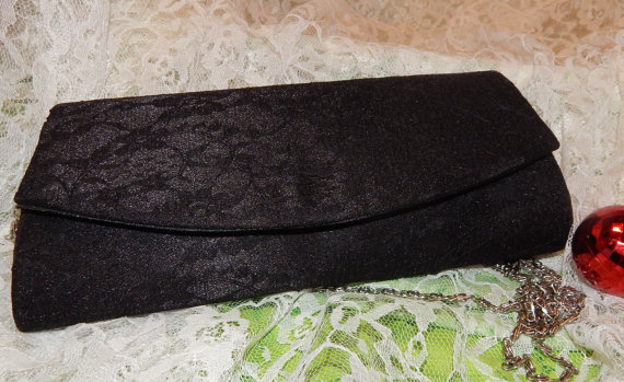 Свадьба - Black Satin and Lace Clutch Purse with Silver Tone Chain, Prom, Evening Party, Wedding, Bridal, Shoulder Bag