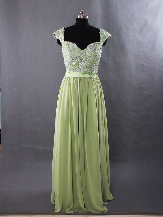 Sage Long Lace Bridesmaid Dress Chiffon With Cap Sleeves And Open Back Prom