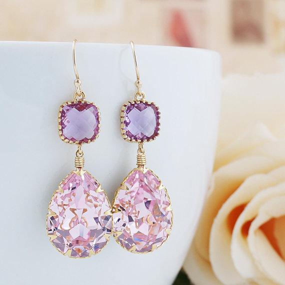 Wedding - Rosaline Pink Swarovski Crystal GOLD FILLED Earrings - Dangle Earrings Pastel Earrings Weddings Bridesmaid Jewelry Bridesmaid Gift