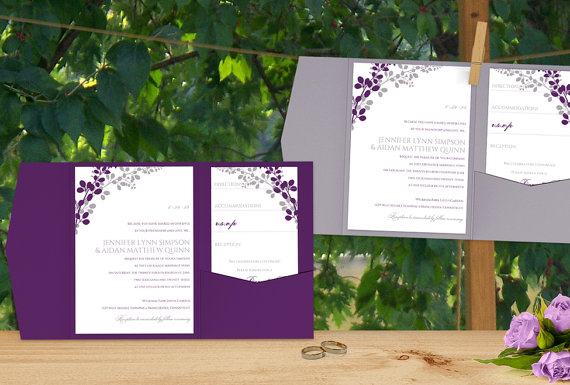 Wedding - DiY Pocket Wedding Invitation Template Set - Instant DOWNLOAD - EDITABLE TEXT - Exquisite Vines (Purple & Silver)  - Microsoft® Word Format