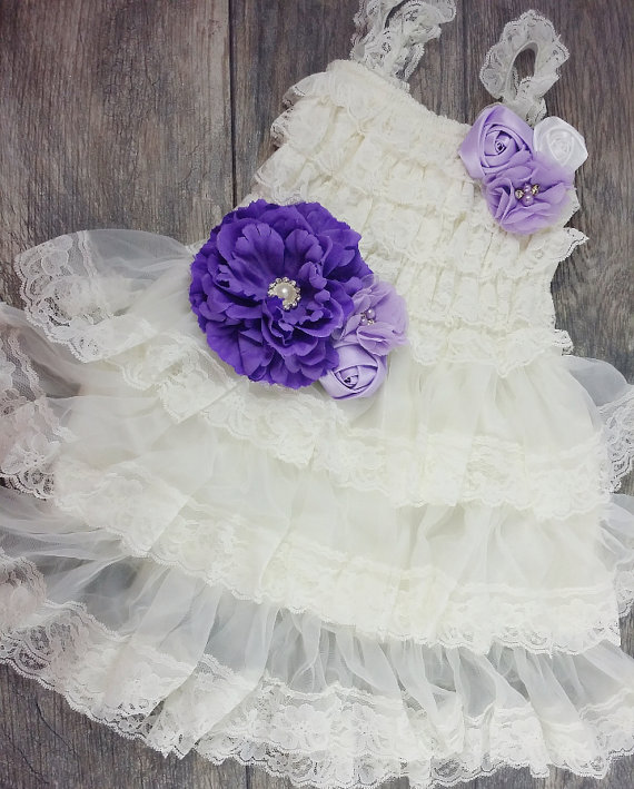 Mariage - Girls Ivory Chiffon Dress // Purple Sash // Flower Girls Dress // Wedding // Custom Colors