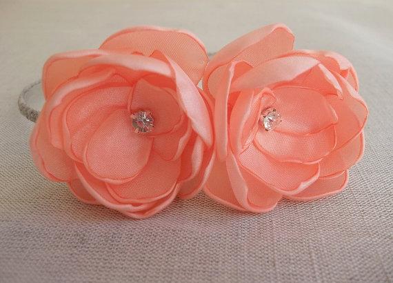 Mariage - Peach Pastel Orange Pale Coral Fabric flowers headband in handmade linen crochet crystals Bridesmaids Girls gift head piece Rustic Weddings