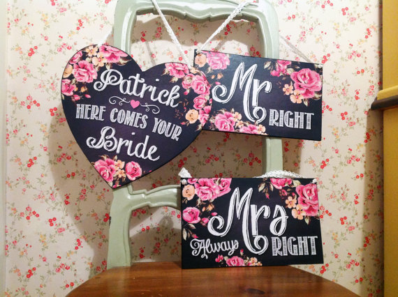Mariage - Here comes the bride sign, Last Chance to Run, wedding decor, pageboy, flowergirl, ring bearer, Thank You Signs, Mr Righr Mrs Always Right