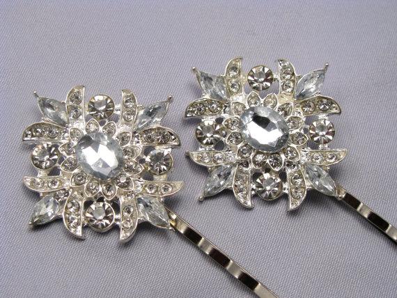 Mariage - Crystal Rhinestone Wedding Hair Pin Set, Silver Bridal Bobby Pins, Bride Hair Accessory, Something Blue, Hair Clip, Bridesmaids Gift