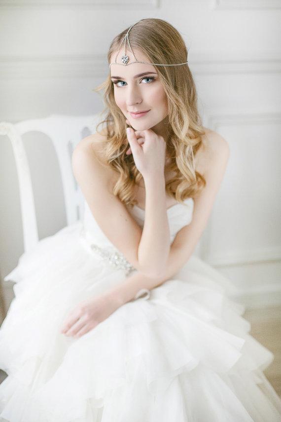 Mariage - Wedding Hair Chain ,Boho Headdress, Bridal Headband, Bridal  Chain Wrap, Bohemian Wedding Hair Accessory, Gypsy Headpiece, Forehead Wrap