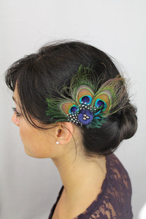 Wedding - Peacock Hair Accessories - Peacock Feather Clip - Navy Boho Flower Feather Peacock Wedding