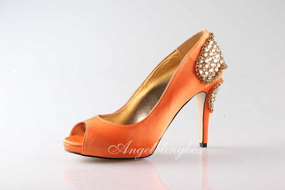 Mariage - Handmade Orange wedding shoes,Orange peep toe wedding shoes,orange bridal shoes, Bling orange shoes in 2014