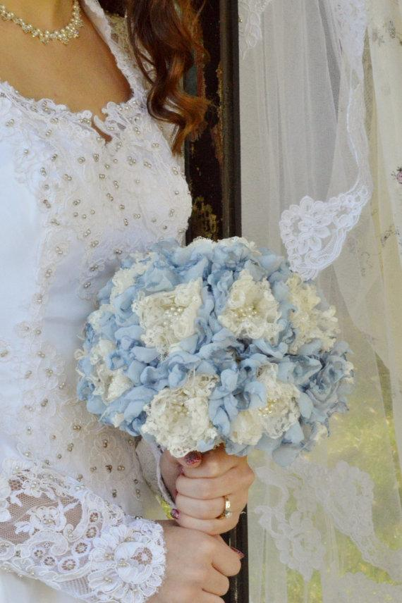 Mariage - Shabby Chic Pearl and Rhinestone Flower Bouquet