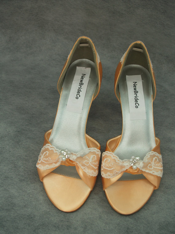 Mariage - Wedding Peach heels comfortable 2.5'' - Bridal Shoes Peach mid heels