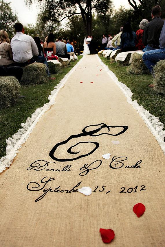 Hochzeit - Reserved 46ft Burlap Aisle Runner with Lace Trim