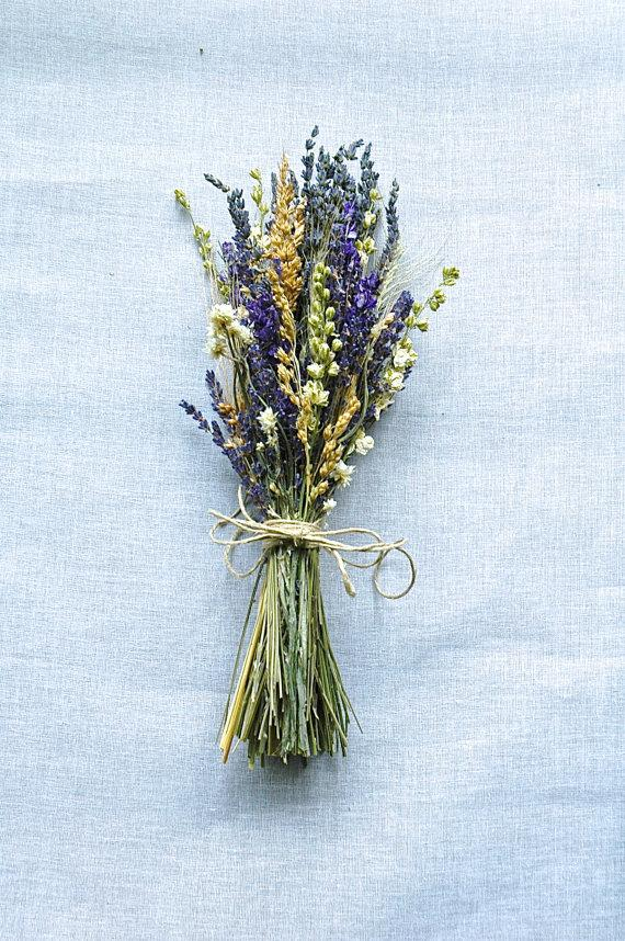 Mariage - 1 Summer Wedding Bridesmaid Bouquets of Montana Lavender  Larkspur and Wheat