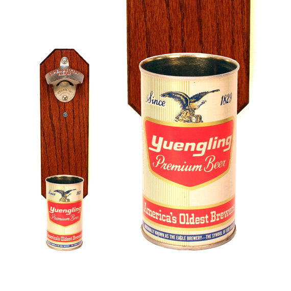Wall Mounted Bottle Opener With Vintage Yuengling Beer Can Cap