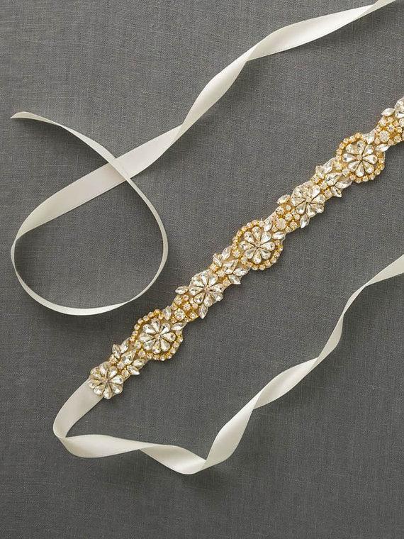 Mariage - Gold Bridal Sash Belt
