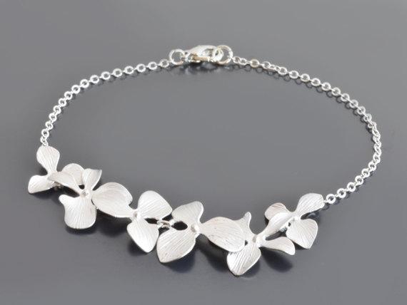 زفاف - SALE, Orchid bracelet, Silver bracelet, Wedding bracelet, Bridal jewelry,Flower bracelet,Anniversary gift,Charm bracelet,Customized bracelet