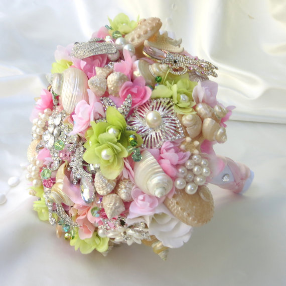 زفاف - Pink Bridal Bouquet, SeaShell Bouquet, Brooch Bouqet,