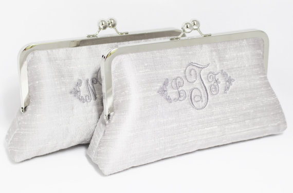 Mariage - Monogrammed Silk Dupioni Clutch - Wedding Clutch - Bridesmaid Clutch