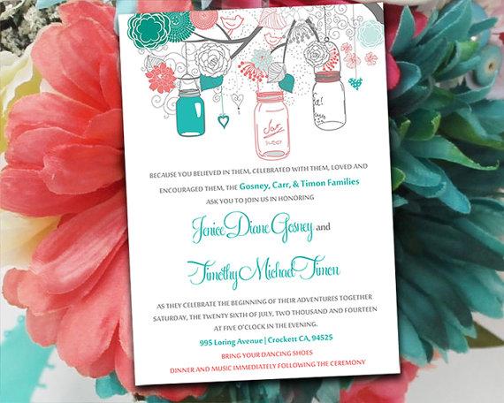 زفاف - Printable Wedding Invitation Template - Mason Jar Invitation Pink Coral, Jade, Teal, Mint, Grey DIY Wedding Template - Printable Wedding