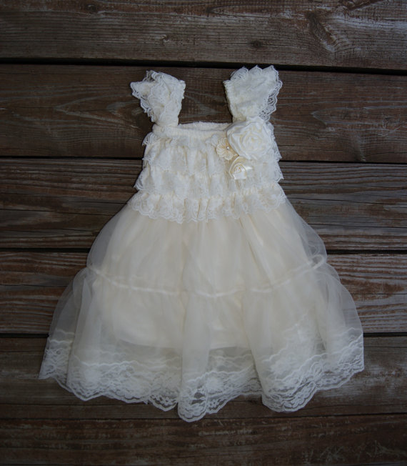Lace ivory flower girl dress rustic flowergirl dress for Wedding dresses shabby chic