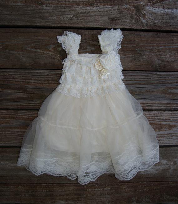 Lace Ivory Flower Girl Dress. Rustic Flowergirl Dress