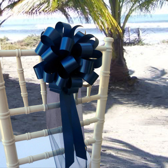 Hochzeit - 10 Navy Blue  Pew Pull Bows Tulle Wedding Decorations Church Aisle