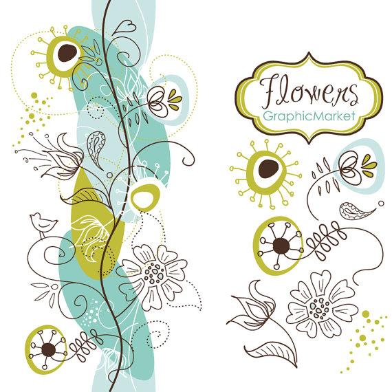 14 Flower Designs And A Floral Border - Clipart For ... |Flower Border Designs For Wedding Cards