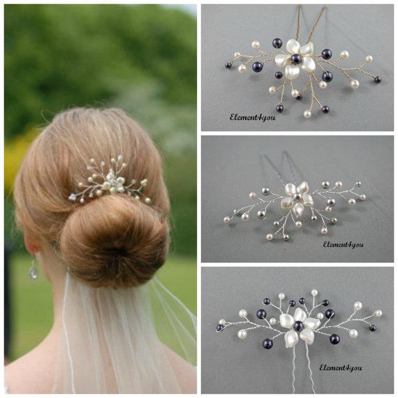 Mariage - Bridal hair pin Silver gold fascinator Wedding hair piece Swarovski pearls Ivory white Flower  Bridesmaid gift accessory Hair vines Purple