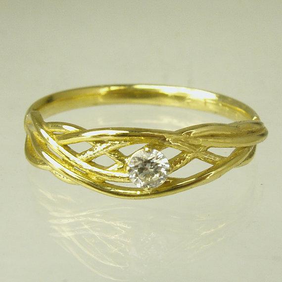 Mariage - Engagement Ring.Daimond ring,14 karat  ring, yellow gold ring,Recycled gold, Wedding Band, Gold