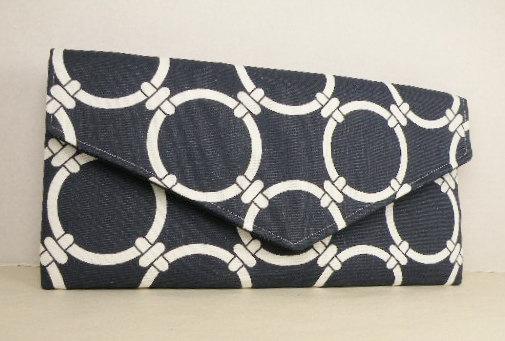 Mariage - Envelope Clutch/Evening Bag/Purse/Wedding/Bridesmaid Gift--Navy & White- LINKED