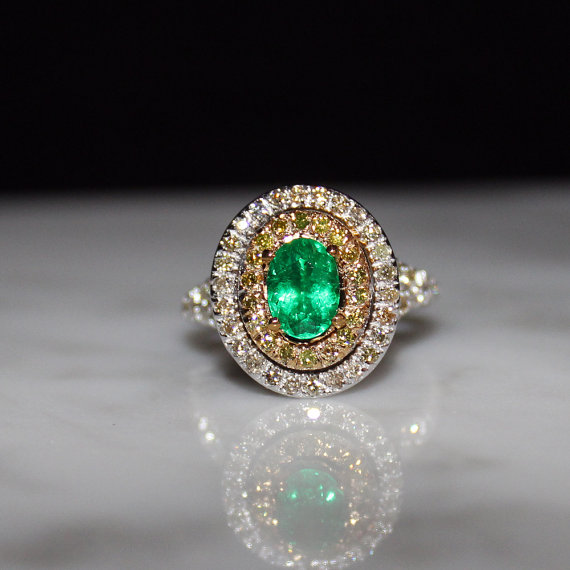 Mariage - Emerald, Yellow and White Diamond Halo Engagement Ring, Free Appraisal