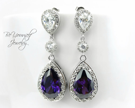 Nozze - Amethyst Purple Bridal Earrings Sparkly Cubic Zirconia Teardrop Earring Plum Dark Purple Wedding Jewelry Sterling Silver February Birthstone