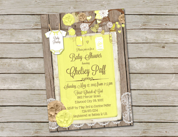 Burlap and lace baby shower invitation yellow mason jar printable burlap and lace baby shower invitation yellow mason jar printable digital file personalized 5x7 filmwisefo