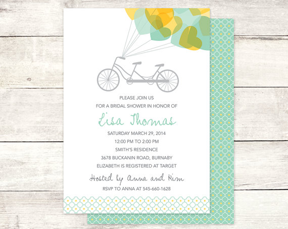 Bridal shower invitation printable wedding shower tandem bicycle bridal shower invitation printable wedding shower tandem bicycle hearts yellow sage green digital invite customizable personalized filmwisefo