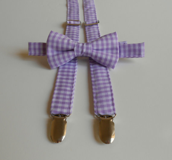 Mariage - Lavender Gingham Bowtie and Suspenders Set - Infant, Toddler, Boy