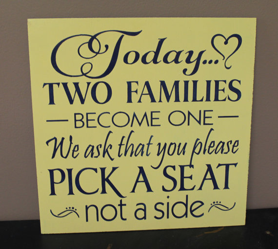 Hochzeit - Sample Sale/Wedding signs/Today Two Families Become One/Pick a Seat not a Side Sign/Yellow/Navy Blue/Wood Sign/Ready to Ship