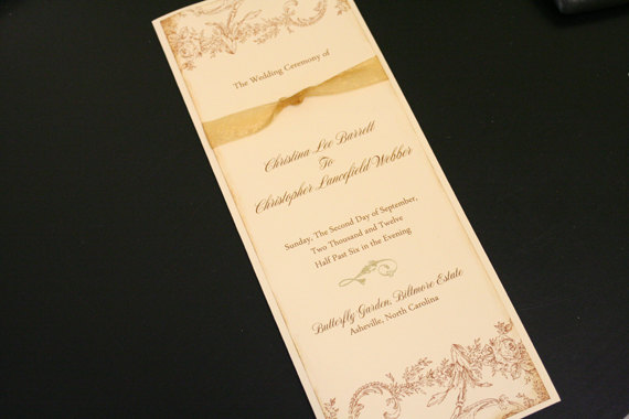 Hochzeit - Wedding Program Book, Order of Service, Vintage, Christian, Flowers & Flourish, Gold, French, Romantic, Marie Antoinette, Unique, Ceremony