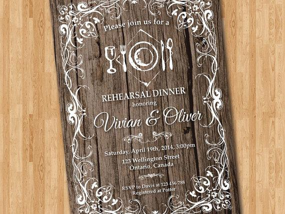 Rustic Rehearsal Dinner Invitation Wedding Typography Wooden Texture Printable Digital DIY