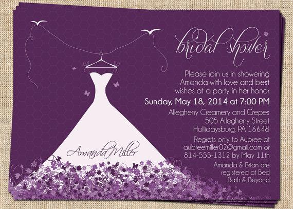 زفاف - Bridal Shower Invitation (Elegant Wedding Dress) Printable Bridal Shower Invitation