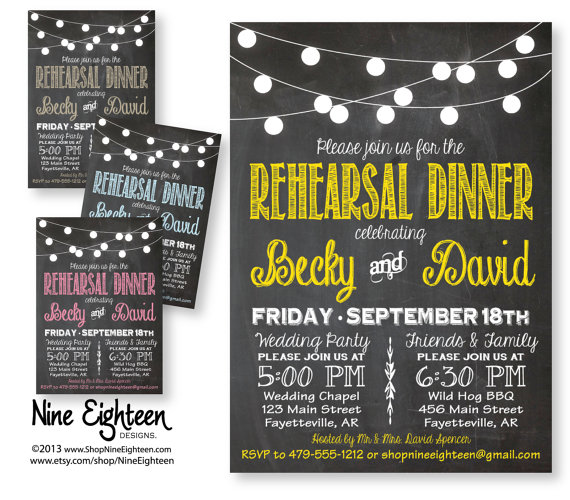 Hochzeit - Rehearsal Dinner Invitation. Chalkboard with lights design. Customized PDF/JPG. I design, you print. Choose your accent colors.