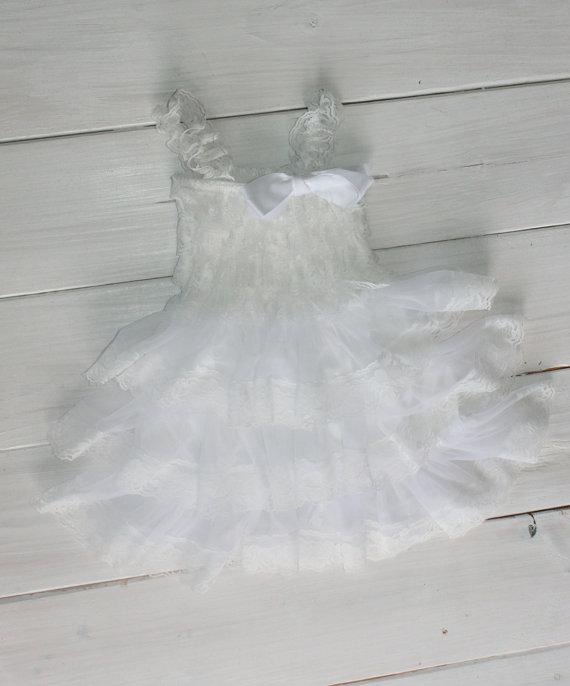 Mariage - White Rustic Lace Chiffon Dress ....Flower Girl Dress, Wedding Dress, Baptism Dress  (Infant, Toddler, Child)