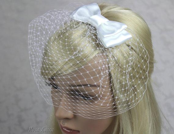 Mariage - Short White Bird Cage Veil, Cage Veil, Russian Lace Birdcage Veil, Birdcage Veil White