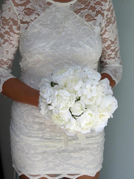 زفاف - Wedding Accessory Bridal Bouquet Ivory Bridal Flowes Crystals